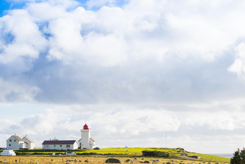 Faro di Obrestad in Norvegia immagini stock