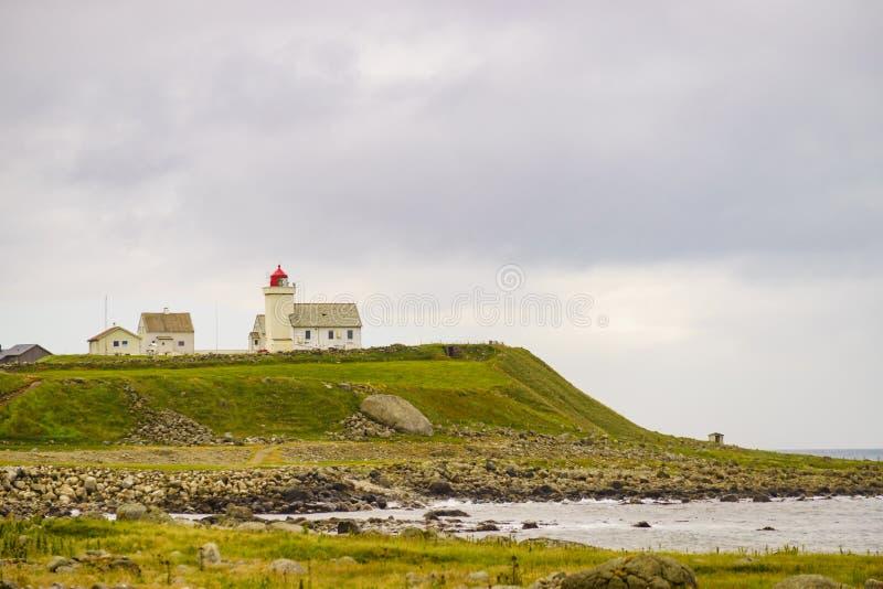 Faro di Obrestad in Norvegia fotografia stock