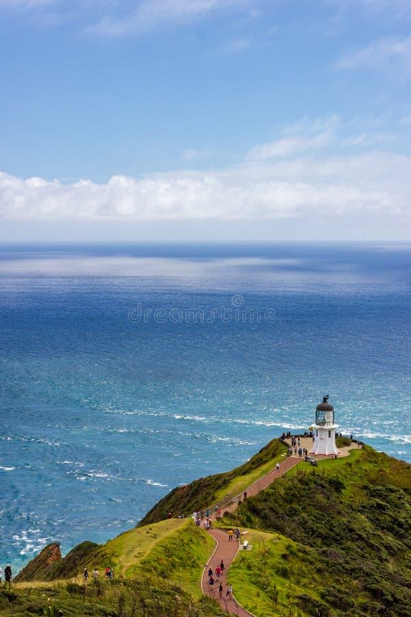Faro di Reinga del capo, bordo del nord della Nuova Zelanda immagini stock