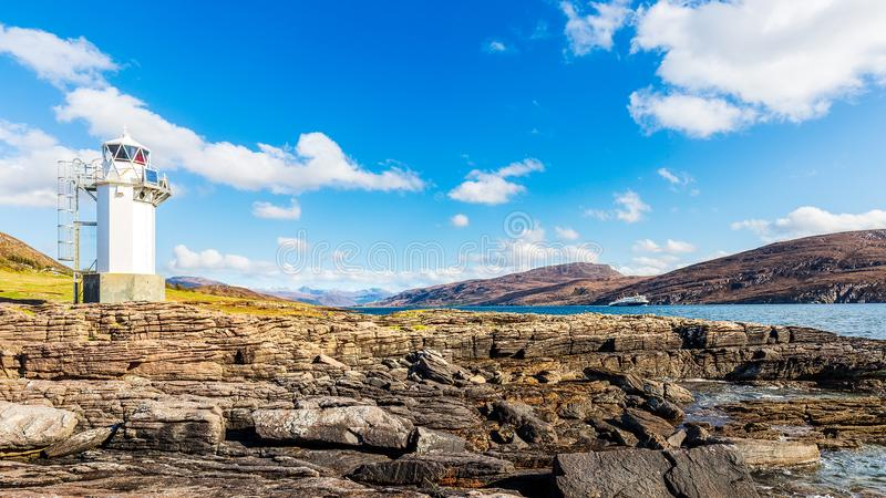 Faro di Rhue alla scopa del lago fotografia stock libera da diritti