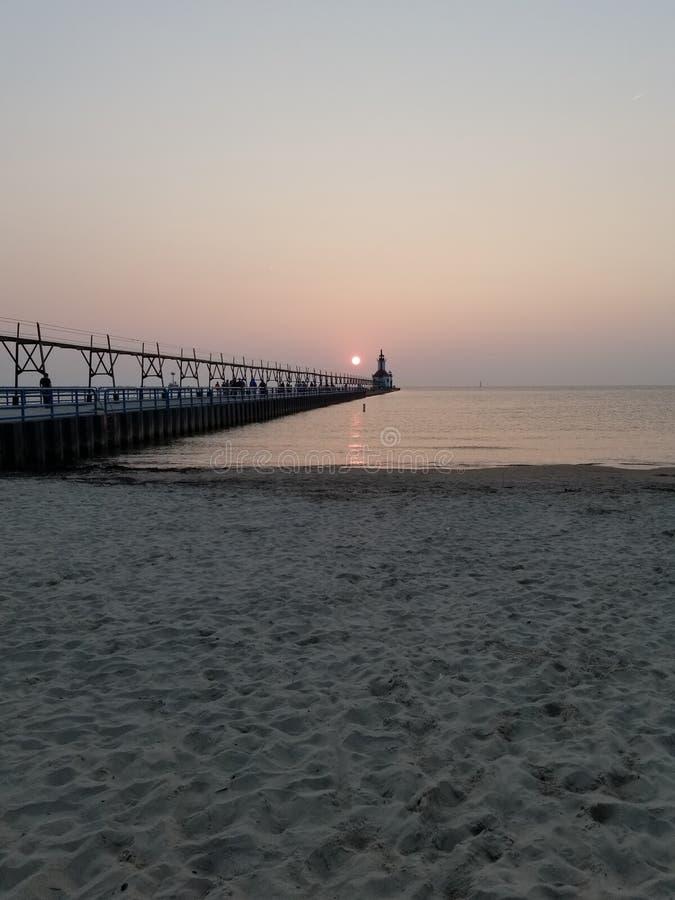 Faro di St Joseph al tramonto fotografia stock libera da diritti