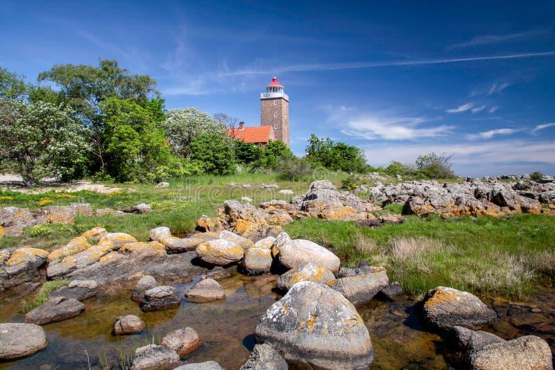 Faro di Svaneke fotografie stock