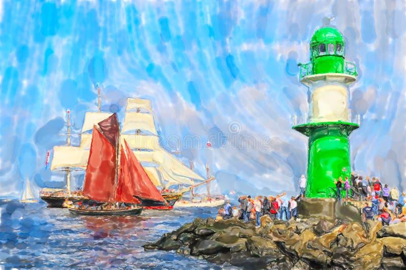 Faro di Warnemunde al pilastro sul Mar Baltico Le navi di navigazione stanno passando vicino Illustrazione dell'acquerello illustrazione vettoriale