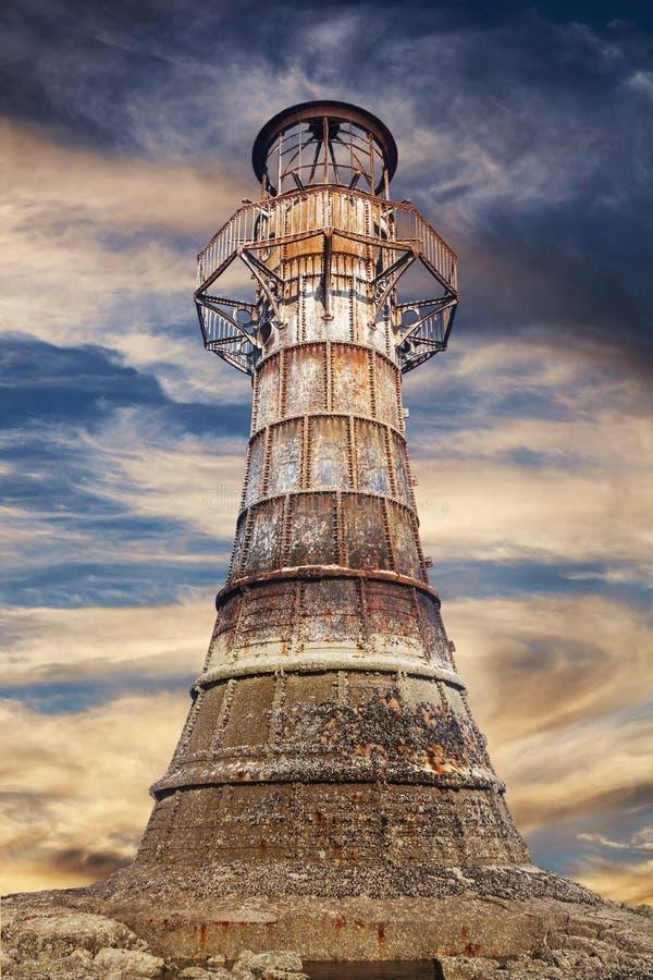 Faro di Whitford in Galles fotografia stock libera da diritti