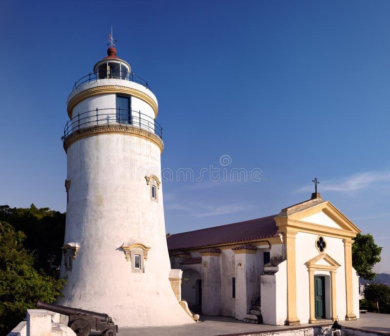 Faro e cappella alla fortificazione di Guia a Macau, Cina fotografia stock