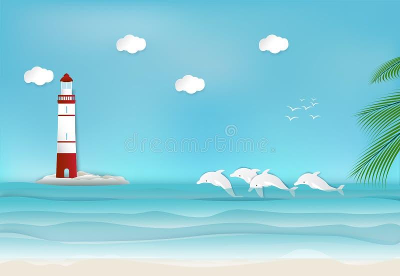 Faro e delfino nello stile di arte del documento introduttivo del mare royalty illustrazione gratis