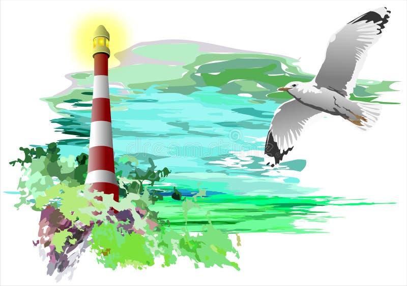 Faro e gabbiano (vettore) royalty illustrazione gratis