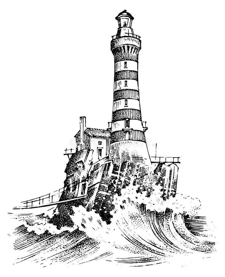 Faro e mare Schizzo marino, viaggio nautico e vista sul mare Accendendosi nell'oceano annata incisa, disegnata a mano illustrazione vettoriale