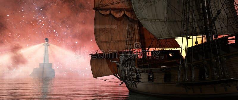 Faro e nave illustrazione di stock