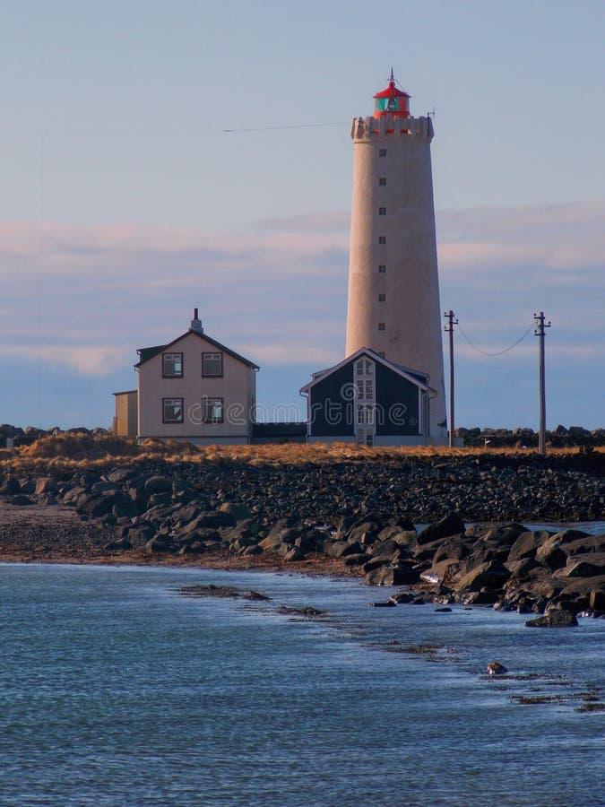Faro en Islandia fotografía de archivo