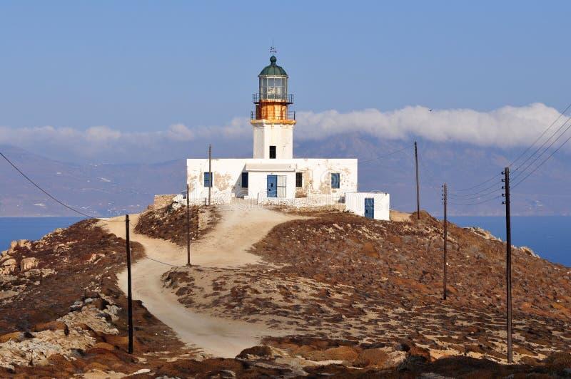 Faro en la isla de Mykonos en Grecia imagen de archivo libre de regalías