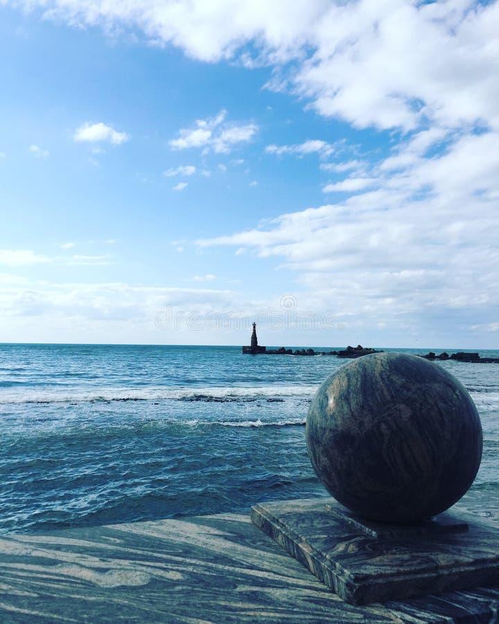 Faro en la isla de Sajalín fotografía de archivo libre de regalías