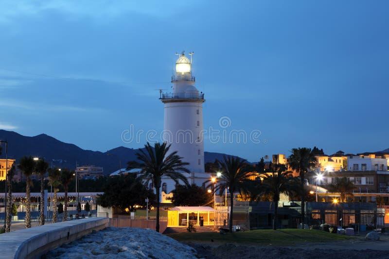 Faro en Málaga fotos de archivo