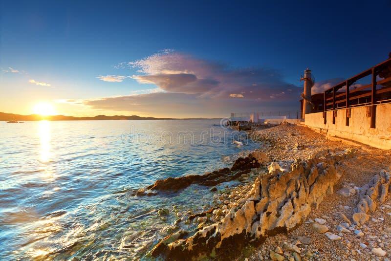 Faro en Zadar fotografía de archivo