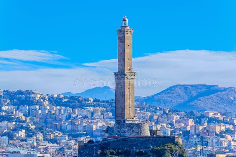 Faro a Genova, Italia immagini stock libere da diritti