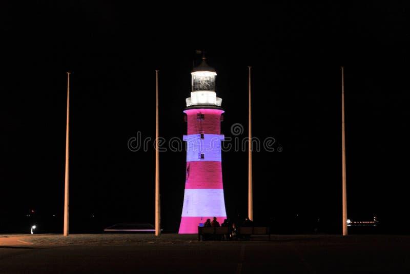 Faro iluminado de Plymouth Eddystone imagen de archivo