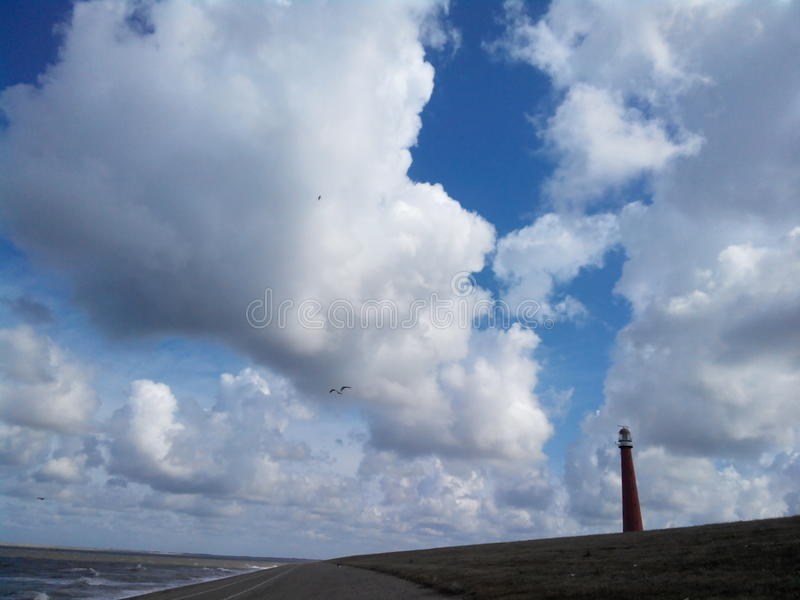 Faro nei Paesi Bassi, Den Helder, mare del Nord fotografia stock