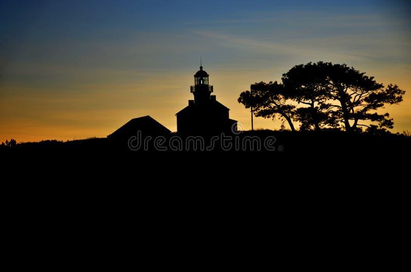 Faro nel tramonto San Diego California fotografia stock libera da diritti