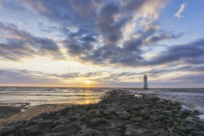 Faro nuovo Brighton Wirral England Regno Unito della roccia della pertica immagini stock libere da diritti
