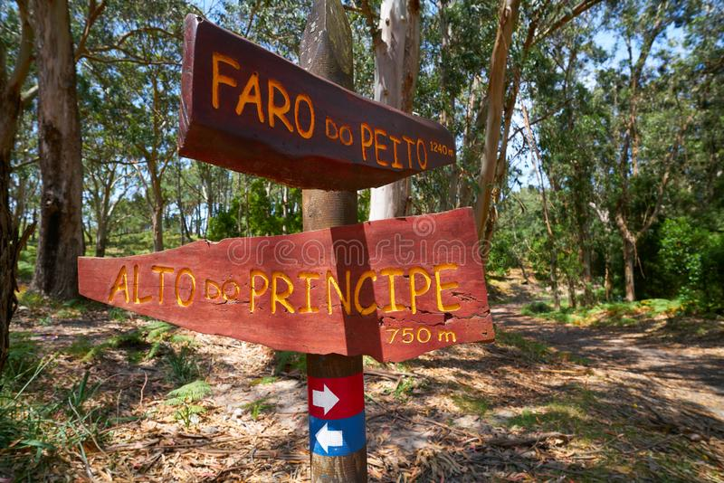 Faro Peito sign to Lighthouse in Islas Cies Spain stock image