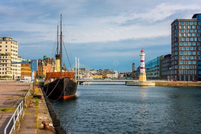 Faro in porto di Malmo Svezia immagine stock