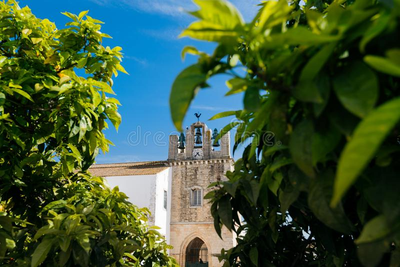 Cathedral of Faro , Algarve, Portugal. Faro - Portugal, April 3, 2018: Faro Cathedral and orange trees in Algarve, Portugal stock photo