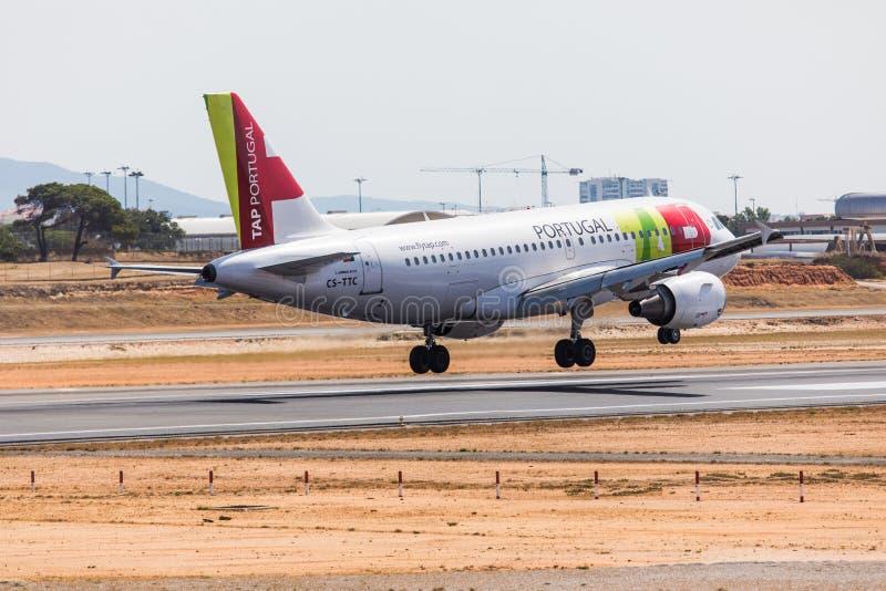 FARO, PORTUGAL - Juny 18, 2017 : TAP portugal Flights aeroplane landing on Faro International Airport. Airport stock photos