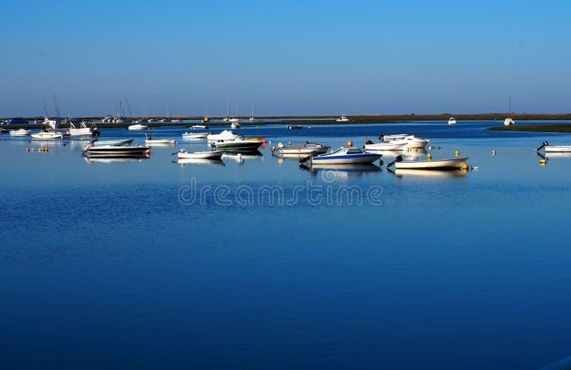Faro Portugal Marina With Small Boats stockfotos