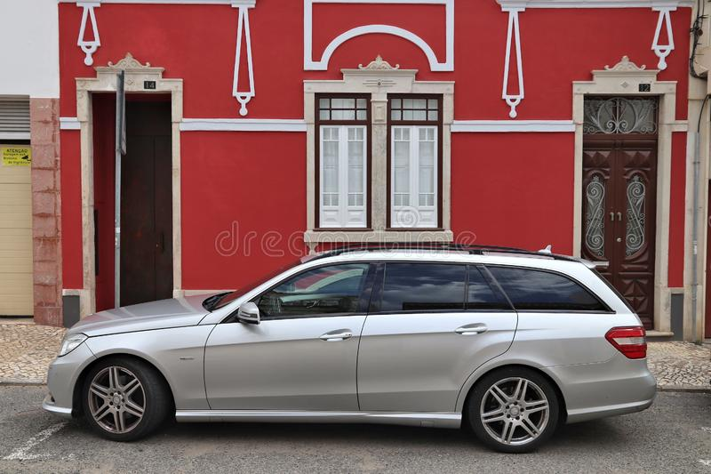 FARO, PORTUGAL - MAY 30, 2018: Mercedes-Benz E-class (model S212) estate car parked in Faro. Portugal has 470 vehicles registered royalty free stock photo