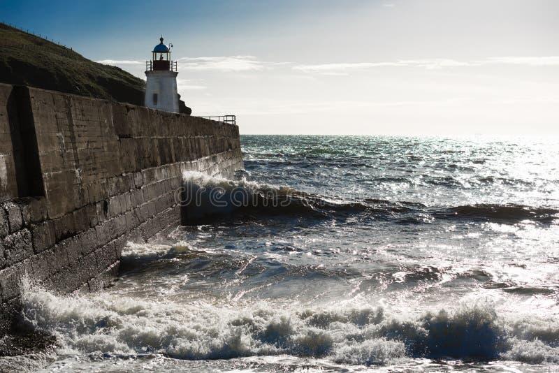 Faro, puerto de Lybster, Escocia septentrional fotografía de archivo