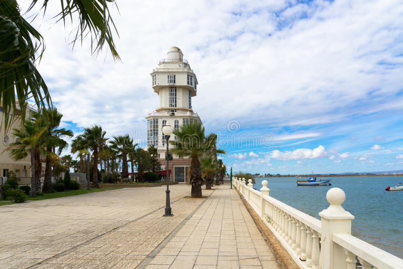 Faro Puerto Isla Cristina fotos de archivo