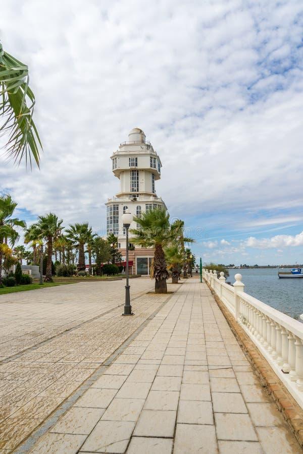 Faro Puerto Isla Cristina fotos de archivo libres de regalías