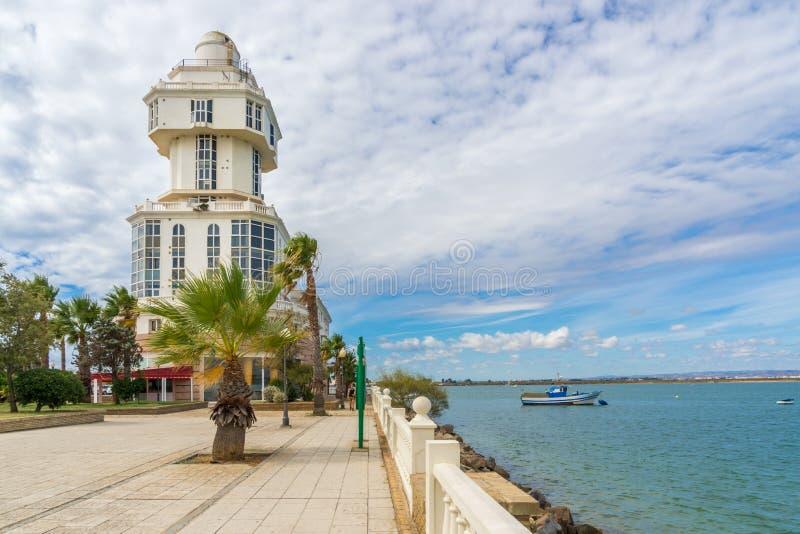 Faro Puerto Isla Cristina foto de archivo