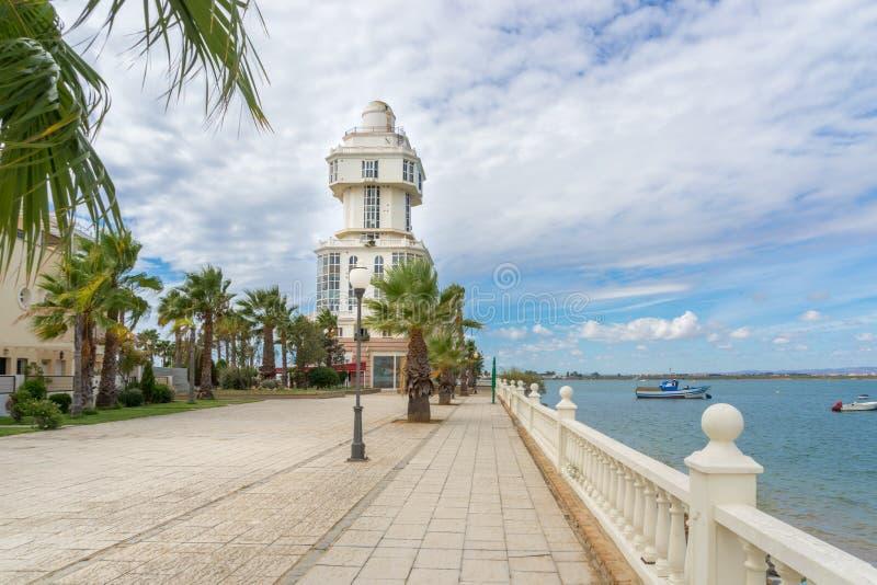 Faro Puerto Isla Cristina foto de archivo libre de regalías