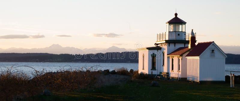 Faro Puget Sound Seattle de West Point del parque del descubrimiento imágenes de archivo libres de regalías