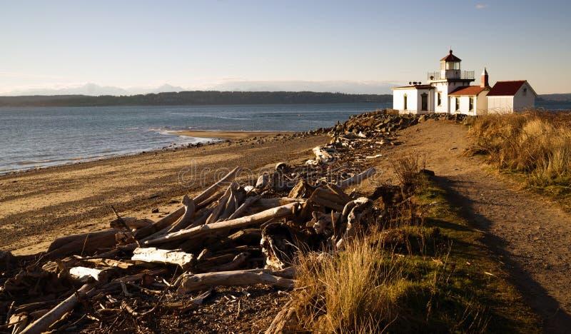 Faro Puget Sound Seattle de West Point del parque del descubrimiento imagen de archivo libre de regalías