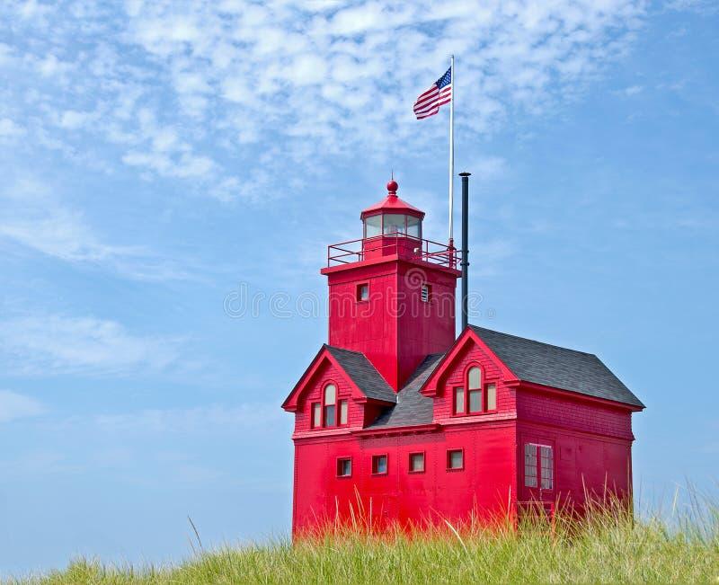 Faro rojo grande en Michigan fotografía de archivo