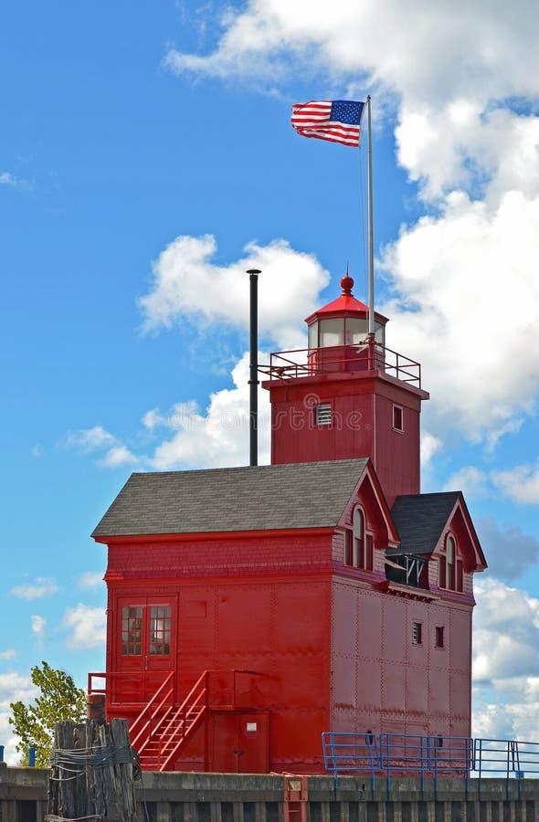 Faro rosso luminoso nel Michigan immagini stock