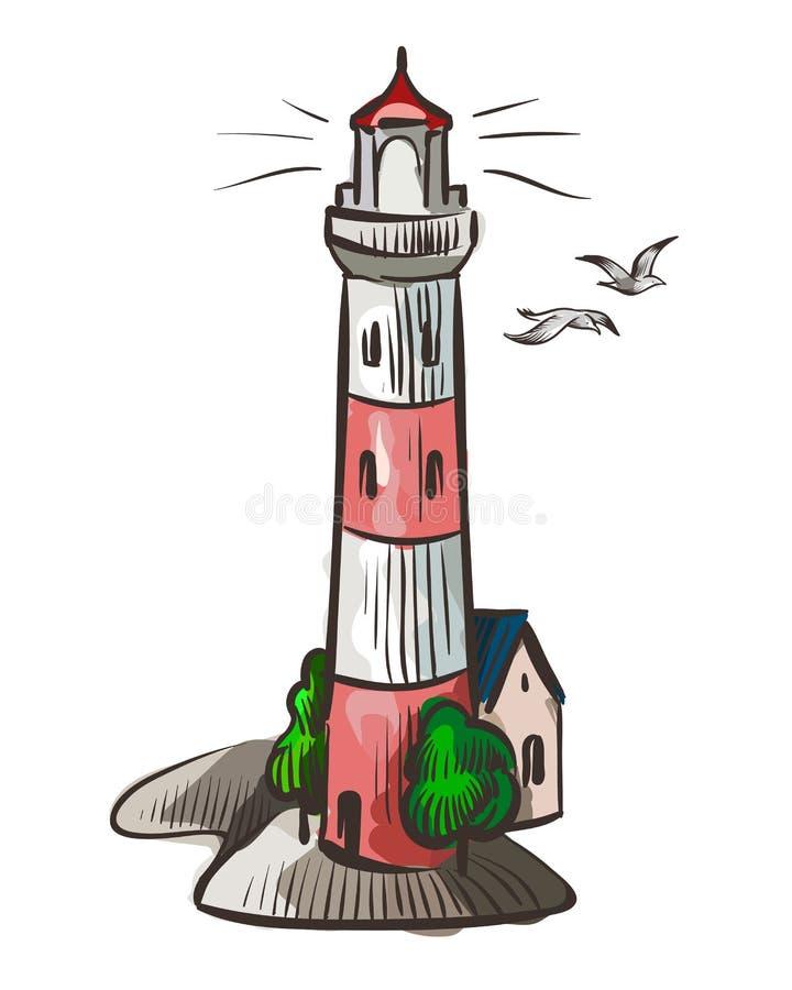 Faro Segnale bianco di simbolo dell'acquerello della luce del mare con l'illustrazione accesa di vettore isolata fascio di notte royalty illustrazione gratis