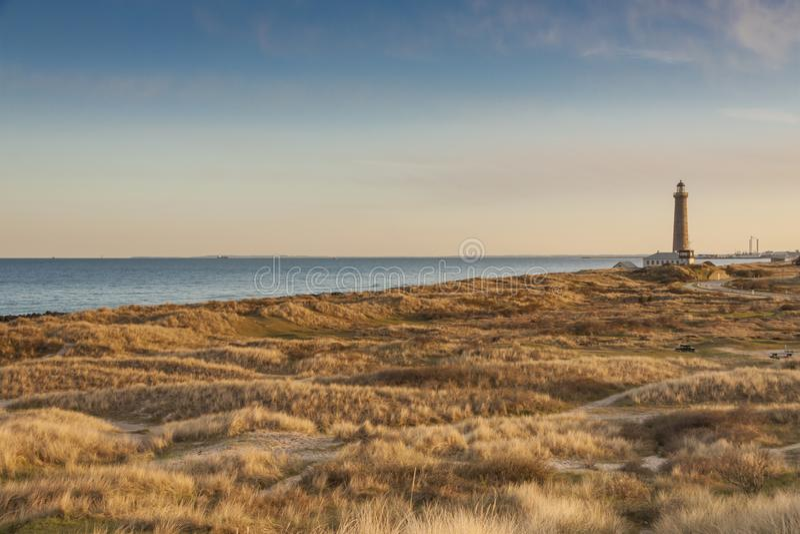 Faro in Skagen in Danimarca fotografie stock libere da diritti