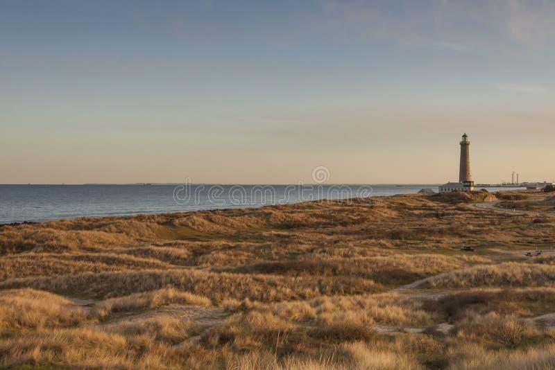 Faro in Skagen in Danimarca fotografia stock libera da diritti