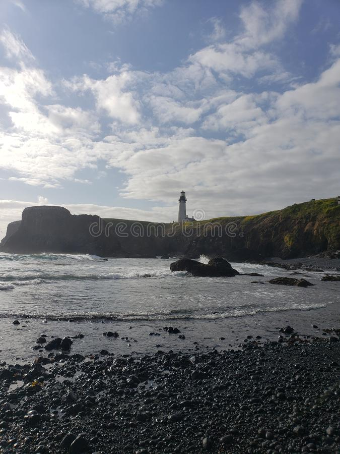Faro storico della costa dell'Oregon immagini stock