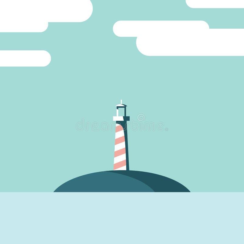 Faro su un'illustrazione di vettore del paesaggio dell'isola Modello della cartolina di vacanza estiva nella progettazione piana  illustrazione di stock
