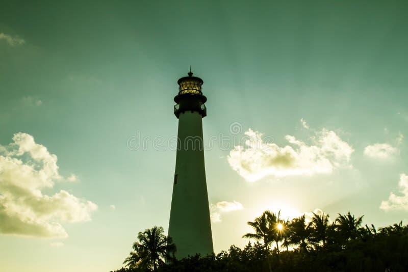 Faro sul tramonto al parco di stato di Florida, Key Biscayne fotografia stock