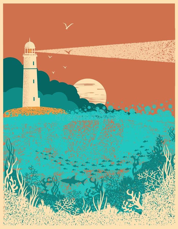 Faro sul tramonto con le onde del mare Backgr subacqueo del manifesto del mare illustrazione vettoriale