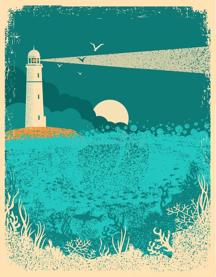 Faro sul tramonto con le onde del mare Fondo subacqueo del mare sopra illustrazione di stock