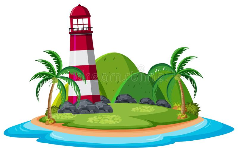 Faro sull'isola illustrazione di stock