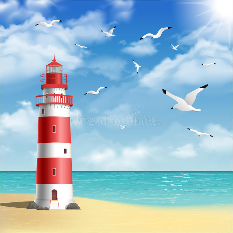 Faro sulla spiaggia illustrazione di stock