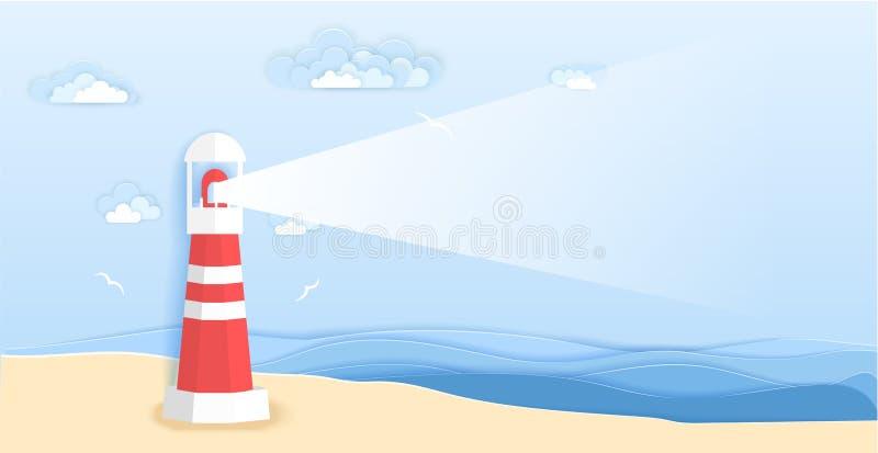 Faro sulla spiaggia del mare nello stile di carta di arte Progettazione del taglio della carta di origami dell'illustrazione di v royalty illustrazione gratis