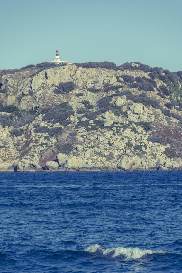 Faro sulle isole di Medes, Girona, Catalogna Immagine d'annata fotografie stock libere da diritti